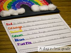 A rainbow of writing-- writing lesson and a craft to go with it Teaching Poetry, Writing Poetry, Teaching Writing, Student Teaching, Writing Activities, Teaching Ideas, 1st Grade Writing, Kindergarten Writing, Literacy