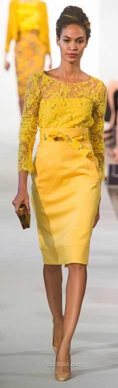 Oscar De La Renta Spring Summer Ready to Wear 2013  Canary yellow pencil skirt and lace overlay top