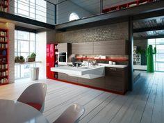 idée de cuisine moderne en bois avec des accents en rouge