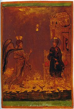Ο Ευαγγελισμός της Θεοτόκου, εικόνα στη Μονή Αγίας Αικατερίνης, Σινά τέλη 12ου αι.