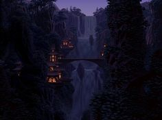 Jungle Waterfalls(Elvish Falls - Morning/Afternoon/Rain/Twilight) Pixel Artist: Mark Ferrari Source: markferrari.com GIFs were made from the True 8-bit Color Cycling Art Gallery(HTML5) Gallery offers: smoother animation than the GIFs adjustable cycle speed (25%-400%) complete 256 color palette (hover over it to see where the colors are used) zoom optional sound cycle mode