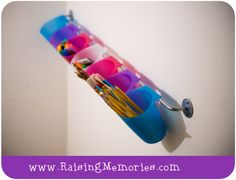 Solution for Storing & Organizing Kids' Art Utensils! Crafts For Kids To Make, Diy Arts And Crafts, Art Crafts, Kids Crafts, Kids Art Area, Ikea Bygel, Kids Craft Storage, Art Storage, Kindergarten Crafts