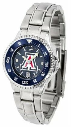 Arizona Wildcats UA NCAA Womens Steel Anochrome Watch by SunTime. $86.95. Showcase the hottest design in watches today! The functional rotating bezel is color-coordinated to compliment your favorite team logo. The Competitor Steel utilizes an attractive and secure stainless steel band.The AnoChrome dial option increases the visual impact of any watch with a stunning radial reflection similar to that of the underside of a CD. Perceived value is increased with the A...