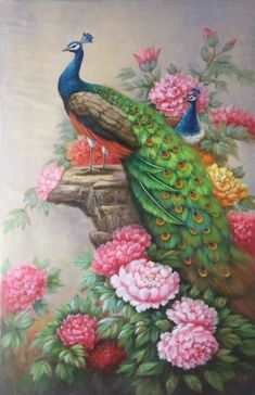 hand-made oil painting,decoration,mural. Peacock Wallpaper, Peacock Wall Art, Peacock Painting, Fabric Painting, Cactus Painting, Decoupage Vintage, Peacock Images, Counted Cross Stitch Kits, Mural Art