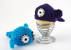 2 #Cozy EGG Warmer #Crochet #Fish #Wool Egg Cup #Kitchen by CocoFlower