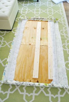 DIY Padded Headboard, could also attach to the wall. The Headboard Adventures, Part 2 | Young House Love