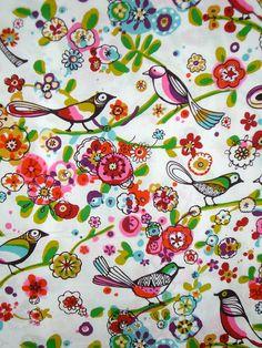 Larkspur Folkloric Bird Print Pure Cotton by fabricsandtrimmings, $9.79