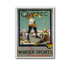 Retro Travel Poster Art Quebec Canada Sports Home Decor Vintage Print (H254)