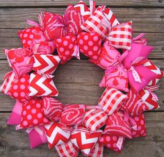 Love Me Some Valentine Pinks Handmade Fabric Wreath   #afpounce
