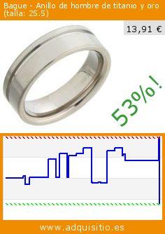 Bague - Anillo de hombre de titanio y oro (talla: 25.5) (Joyería). Baja 53%! Precio actual 13,91 €, el precio anterior fue de 29,68 €. http://www.adquisitio.es/otros/bague-anillo-hombre-0
