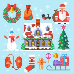 Symbols of New Year and Christmas. Santa Claus bag gifts sweets house decorations wreath Christmas tree snowman mittens socks bullfinch snowman. Vector flat icons and illustrations