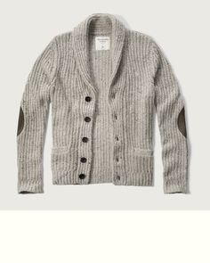 Have a little old-school spirit with a textured knitwear, featuring elbow patches, a button-down closure and front pockets, Muscle Fit, Imported<br><br>40% Nylon/ 30% Viscose/ 30% Wool