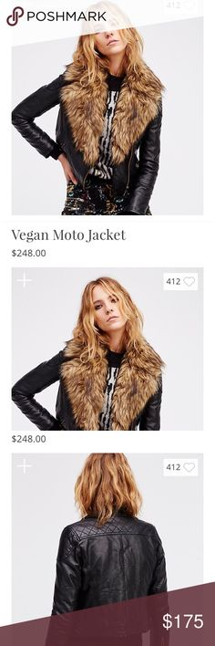 SOLD!  Free People vegan Moto jacket Free People vegan moto jacket. The fur collar is removable giving this jacket two awesome looks! Size S. Worn only 3-4 times. No condition issues. Selling bc I have too many jackets! Free People Jackets & Coats