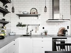 Grey And White Interior Design Inspiration From Scandinavia White Interior Design, Scandinavian Interior Design, Scandinavian Home, Home Interior, Kitchen Interior, Interior Design Living Room, Kitchen Design, Kitchen Decor, Interior Decorating