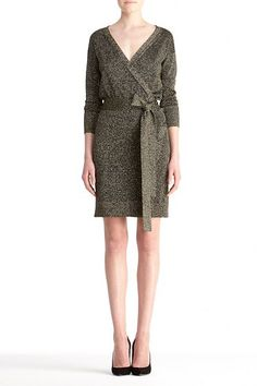 straight from the inventor of the all-figure-flattering wrap dress herself, Diane von Furstenberg's Fall 2012 collection is superb and I especially love this 'Fosette' dress with its subtle metallic shimmer, timeless silhouette, and it's day-to-night versatility.