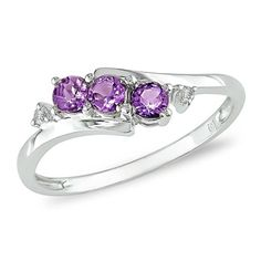 Amethyst Three Stone Slant Ring in 10K White Gold with Diamond Accents - Zales