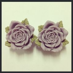 Purple Vintage Rose Ear Plugs