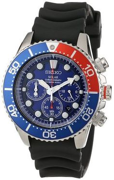 Seiko SSC031 Men's Solar Watch Chronograph Red/Blue Bezel w/ Blue Dial Black Rubber Strap