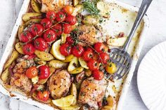 Serve up a golden roasted chicken with this simple one-tray bake recipe.