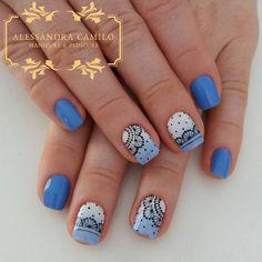 Publicación de Instagram de Alessandra Camilo SC • 27 de Oct de 2017 a las 3:05 UTC Round Nail Designs, French Nail Designs, Love Nails, Pretty Nails, Linda Nails, Nail Art Printer, Cherry Blossom Nails, Galaxy Nails, Round Nails