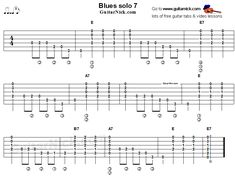 Play this blues solo with tablature and video. Music Theory Guitar, Guitar Tabs Songs, Guitar Sheet Music, Guitar Chord Chart, Guitar Solo, Music Tabs, Lead Guitar Lessons, Online Guitar Lessons, Guitar Lessons For Beginners