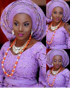 Sensational in Lilac @midemoshood, makeup by @tintsmakeuppro, aso oke by @stylish_trendzz, event planned by @tmakesevent #BellaNaijaWeddings