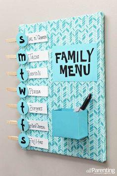 DIY-Meal-planning-menu-board-aP-vertical // Home Decoration DIY Cute Crafts, Diy And Crafts, Cute Diy Crafts For Your Room, Diy For Room, Diy Crafts Room Decor, Diy Crafts For Bedroom, Home Projects, Craft Projects, Cool Diy Projects