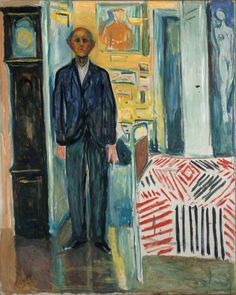 Self-Portrait. Between the Clock and the Bed, 1940 – 43, Edvard Munch, Munch Museum, Oslo.