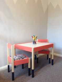 #Ikea hack #Latt table and chairs. (Paint : #Little Greene Orange Aurora)