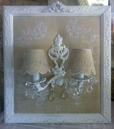 #Applique ancienne, chanvre, broderie, pampilles. Création Le Grenier d'Alice. #wall lamp #shabby chic