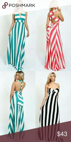 Host Pick Coral and mint summer  maxi dress Muti-styling maxi dress Extended fabric tie to create different looks.  (Can be worn by 8 different styles)   Content: 95% Polyester 5% Spandex model is 5/8 and is wearing a small.  Made in USA Boutique  Dresses Maxi