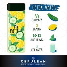 #Detox Water Recipe: all you need is cucumber, lemons and mint! We recommend organic to avoid pesticides while cleansing your system, and using a pH balanced, alkaline water for maximum benefit. #detoxwater #lemonwater #throwsomemintinthatglass #LiveCerulean