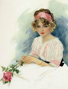 Beautiful woman with pink roses vintage illustration postcard.  #beautifulwomen