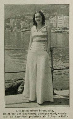 1932 beach pajama fashion 30s wide leg sailor pants photo print ad newspaper