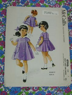 Vintage Pattern c.1959 McCall's No.4946 Girls Dress and Panties, Size 2, Helen Lee Design Uncut