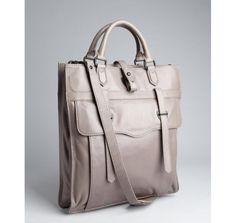Ben Minkoff grey leather 'Gregger' briefcase tote