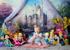 Disney Princess First Birthday Photo Shoot. | first birthday | cake smash | photo | theme | ideas | messy | one | nj photographer | 1st | one | unique | baby | contemporary | vibrant | colorful | fun | Cinderella | Mickey | girl | castle