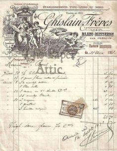Facture Francais. Vintage Labels, Vintage Ephemera, Vintage Cards, Papel Vintage, Vintage Paper, Collages D'images, Decoupage Printables, Images Vintage, Decoupage Paper
