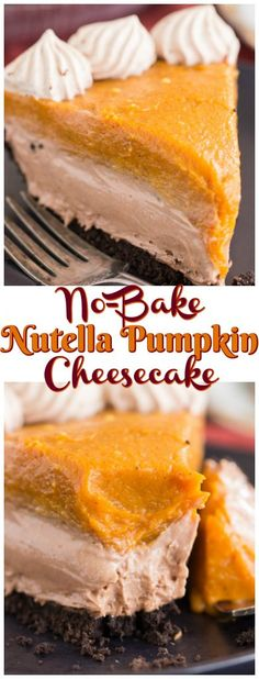 With a chocolate cookie crust, loads of pumpkin and spice, and a layer of creamy Nutella cheesecake, this Double Layer Nutella Pumpkin Cheesecake is a must for the holiday season!