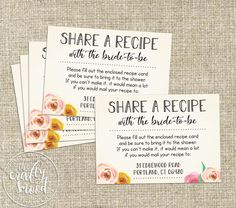Vintage Floral Share a Recipe Card Insert - Digital File Printable Bridal Shower Tables, Tea Party Bridal Shower, Bridal Shower Rustic, Showers Of Blessing, Tea Party Wedding, Couple Shower, Vintage Fall, Vintage Floral, Recipe Cards