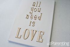 DIY wooden letters on canvas step 1