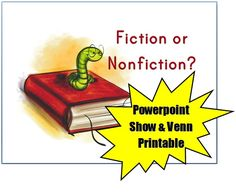 FREE Fiction/Nonfiction PowerPoint~  Short, but clear explanation of the difference between fiction and nonfiction.  Venn diagram printable and handout with fiction and nonfiction examples for the students to consider.  All downloads available at Meet Penny!
