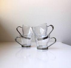 Italian Modern Glass Espresso Set 4 Chrome by VintageModernAndMore