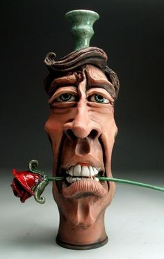 mitchell grafton | ... Jug Raku Folk Art Pottery Rose Sculpture by Mitchell Grafton | eBay