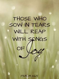 "Those who sow in tears will reap with songs of Joy. So many times it does not ""feel"" like this, but God always keeps His word. His promises are true. Joy will come in the morning to those who are faithful and believe God. Bible Scriptures, Bible Quotes, Joy Quotes, Qoutes, Faith Scripture, Happiness Quotes, Random Quotes, Psalm 126 5, Be My Hero"