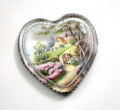 Vintage Paperweight Convex-Glass Heart with Cottage Garden Print