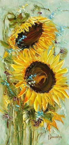 Jan's Page of Awesomeness! Arte Floral, Abstract Flowers, Acrylic Flowers, Sunflower Art, Art Abstrait, Art For Art Sake, Texture Painting, Art Oil, Watercolor Art