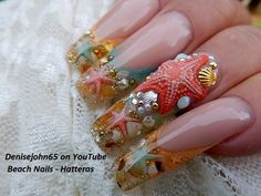 Starfish Ocean Pearl Nails in Gel ...the starfish is acrylic ...Find me on YouTube ...my channel is Denisejohn65