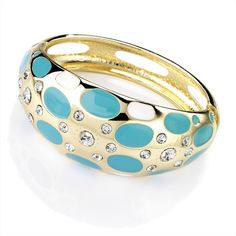 Gold Colour Crystal Blue Hinge Bangle