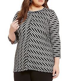Westbound Plus 3/4 Sleeve Seamed Textured Top